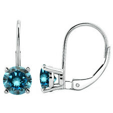 1 Carat Blue Round Diamond Lever Back Dangling Pair Earrings 14K White Gold