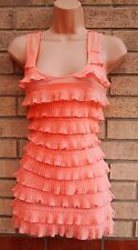 H&M TIERED PEACH PINK RUFFLE FRILL SMOCK SHIFT TUNIC PARTY RARE EVENING DRESS XS