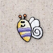 Iron On Embroidered Applique Patch - Mini Bumble Bee Smiling Purple/Yellow/Black