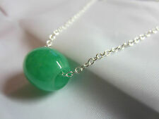 NATURAL GREEN Jade Carved Chinese Lucky Barrel Pendant Sterling Silver Necklace