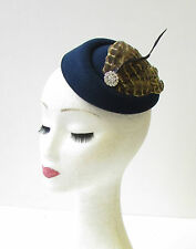 Navy Blue Brown Feather Pillbox Hat Fascinator Hair Races Vintage Headpiece 1532