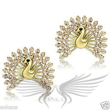 Brilliant Top Grade Crystals Peacock Shaped Gold Plated Earrings GL270
