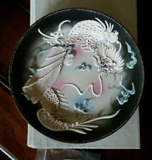 Vintage HAND PAINTED NIPPON raised relief dragon plate Japanese
