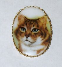 Oval Brooch Pin Hand Painted Cat Face Portrait Brown Vintage Lady Jewelry