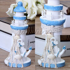 15cm Rustic Wooden Lighthouse Ornament Home Nautical Beach Shabby Seaside Decor