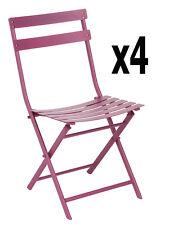 Lot de 4 chaises pliantes Lucie prune, 51 x 42 x 81 cm