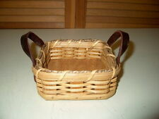 Genuine AMISH 'Coaster' BASKET Riveted LEATHER Handles HANDCRAFTED & SIGNED ZOOK