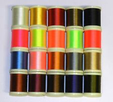 20 SPOOLS OF 200 YD DANVILLE 6/0 - 70 DENIER WAXED FLYMASTER THREAD FLY TYING