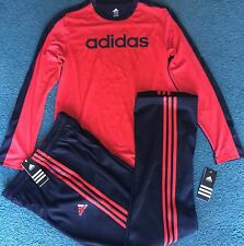 NWT Adidas Boys YXL Black/Red Climalite Long Sleeve Shirt & Pants Set XL