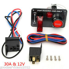 30A DC12V Racing Car Carbon-Look Ignition Switch Panel Engine Start Push Button
