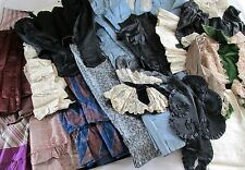 20 pc Antique Victorian Bustle - Edwardian Silk Skirt, Bodice Remnants, Projects