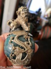 Chinese paperweight/finial dog foo on marble ball and a serpent dragon[a1stfl]