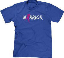 Warrior Text with Pink Ribbon Survivor Breast Cancer Awareness Month Mens Tee