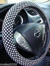 Handmade Steering Wheel Cover Black and White Mini Polka Dots Rockabilly