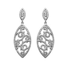 PAVE  FILIGREE STATEMENT CLEAR CUBIC ZIRCONIA CHANDELIER EARRINGS 50MM  BRIDAL