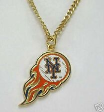 New York Mets Flaming Baseball Necklace Licensed by MLB Free Shipping
