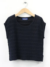 BNWT American Apparel Womens Navy Cable Knit Crop Sweater Size S (UK Size 8)