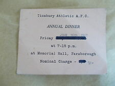 A 1967 Timsbury Athletic Football Club Dinner Ticket SIGNED By Johnny Quigley