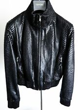 $10300 FREDO FERRUCCI Women's Python Snakeskin Leather Black Jacket Size Small