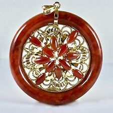 """Huge Red Jade Agate Round 14k Solid Yellow Gold Pendant Bangle 2 1/4"""" L 23.3 gr"""