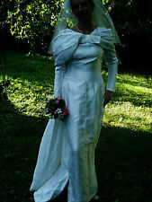 Vtg 30s Deco Style Ivory 100% Silk Alencon Lace Bustle Wedding Dress 8/10 Beauty