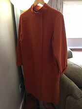 Eileen Fisher 100% Wool Long Coat Duster Jacket Orange Size Small S