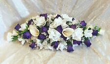 REGENCY PURPLE WHITE SILVER ~ Swag Centerpieces Silk Wedding Flowers Arch Decor