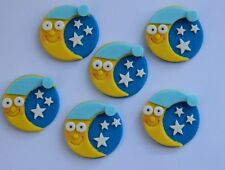 12 edible MOON & STARS icing CAKE CUPCAKE topper decoration BABY SHOWER nursery