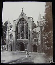 Glass Magic Lantern Slide NORWICH CATHEDRAL WEST FRONT C1890 ENGLAND L94