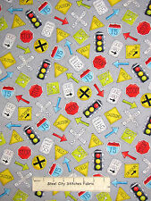Road Traffic Signal Sign Toss Gray Cotton Fabric HG&Co #6350 Monkey Around YARD
