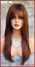 Long Straight w/Bangs Monopart Wig Bronzed Brown Sexy Long Red Brown