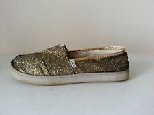 Tom's gold glittery slip ons - shoes say Youth 6, but fit like a womens 8.5