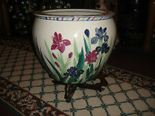 Chinese Pottery Fish Bowl Planter W/Stand-Painted Flowers-Koi FIsh Center-#2