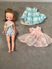 Vintage American Character Betsy McCall 1950s Doll w/ Striped Romper, 2 Dresses