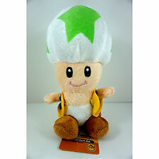 "Super Mario Brothers Bros Green Stars Mushroom Toad 7"" Soft Plush Toy Doll +GIFT"