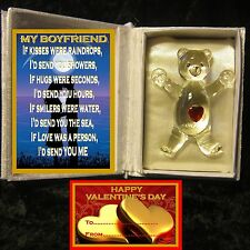 MY BOYFRIEND LOVE VERSE VALENTINES DAY GLASS TEDDY BEAR IN BOOK GIFT CARD TAG
