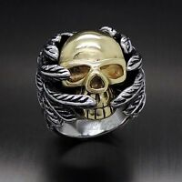 Mens Gold Skull Feather Wing 316L Stainless Steel Biker Ring