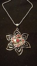 "Silver Flower Snap Pendant, Pink Crystal Swirl Snap, & 26"" Silver Alloy Chain"