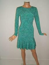 NEW MICHAEL KORS Small 4 GORGEOUS GREEN Blue Flare Designer Womens Dress NWT