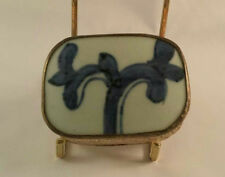 Chinese Vintage Pill/Powder Box White Metal With Blue and White Porcelain Inlay