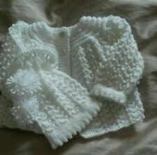 Gorgeous hand knitted little girls cardigan set  0/3 months