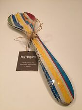 Pier 1 NEW Salad Server Fork Spoon Striped Antiqued Look FREE SHIP