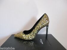 YSL Yves Saint Laurent Paris 105 Sequin Evening Pumps Shoes 36.5 6.5