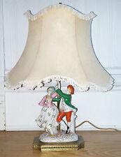 Antique Vtg Capodimonte Style Porcelain Colonial Man Woman Figural Boudoir Lamp