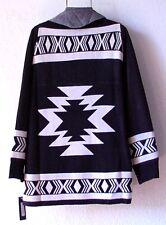 NEW~LAPIS~Black & Ivory Aztec Sweater Cardigan Boho Jacket Top~8/10/M/Medium