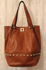 Karen Millen Studded Leather Twist Lock Large Shopper Bucket Tan Bag