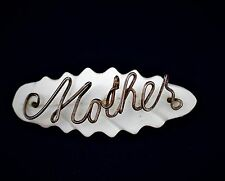 Mother - Victorian carved Mother of pearl with brass tone wire   BROOCH