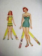 "Vintage 1950's Paper Dolls ""Mom & Me"" Pretty Clothes & 12 Hats *"