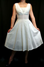 S VTG 50s Ivory Empire Fit Flare 12 Gore Skirt Cocktail Party Summer Sun DRESS