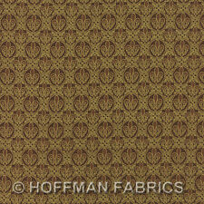 Hoffman ORLEANS K 7139 6G Brown Gold Shields Metallic Accents By the Yard
